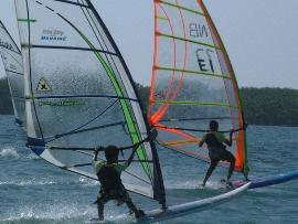 windsurfen in der aribik, Bonaire Kids